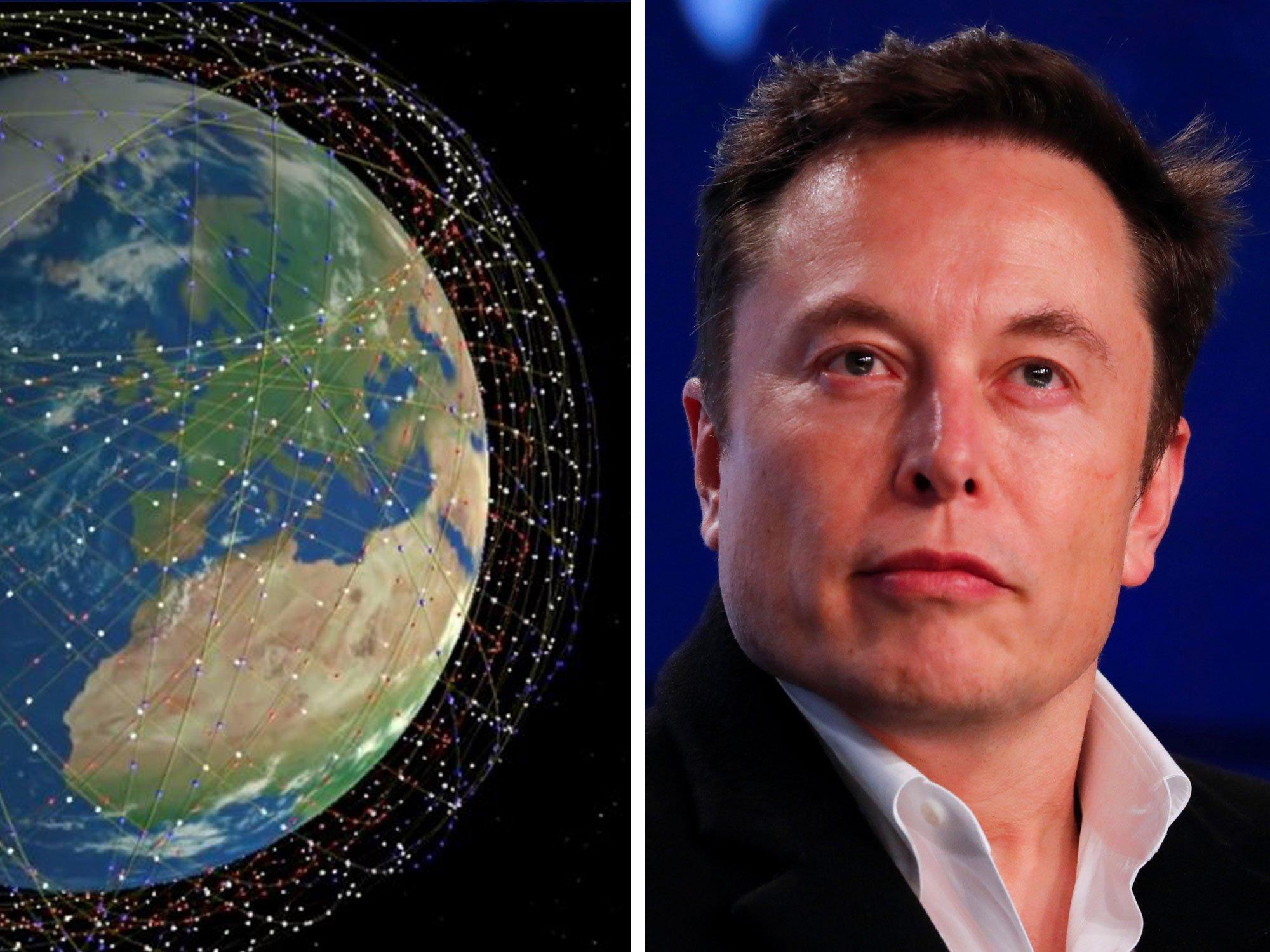 Starlink satelīti apkārt Zemei un Īlans Masks